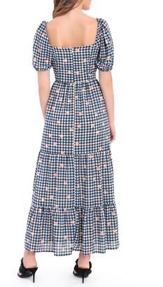 Donna Morgan Gingham Dot Puff Sleeve Midi Dress