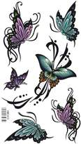 King Horse Green and Purple Butterflies Body Art Temporary Tattoo Sticker