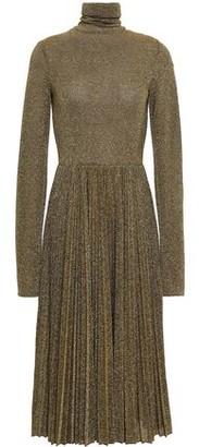 Philosophy di Lorenzo Serafini Pleated Metallic Knitted Turtleneck Midi Dress