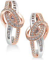 Macy's Diamond Two-Tone Swirl Drop Earrings (1/2 ct. t.w.) in 14k Rose and White Gold