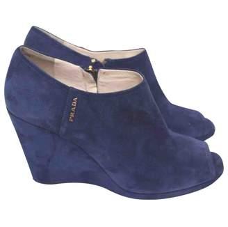 Prada \N Blue Suede Ankle boots