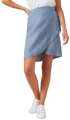 French Connection Linen Wrap Mini Skirt