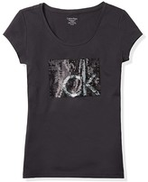 Calvin Klein Logo Sequin Block Cotton Modal T-Shirt