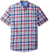 Izod Men's Big and Tall Saltwater Dockside Chambray Plaid Short Sleeve Shirt
