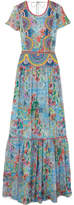Matthew Williamson Deia Fiesta Embroidered Printed Silk-chiffon Maxi Dress - Light blue
