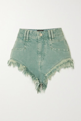 Isabel Marant Eneida Frayed Denim Shorts - Gray green
