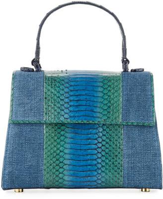 Nancy Gonzalez Lexi Small Linen/Snake Top-Handle Bag
