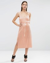 Asos NIGHT Metallic Plisse Cami Midi Dress