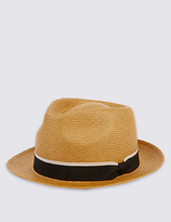 M&s Collection Tipped Band Trilby Hat