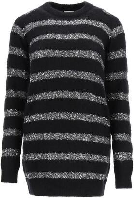 Saint Laurent MOHAIR MINI DRESS WITH SEQUINS M Black, Silver Wool