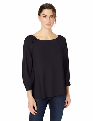 Lark & Ro Amazon Brand Women's Three Quarter Sleeve Crew Neck Gathered Blouse
