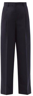 Officine Generale New Sophie Box Pleated Wool-fresco Trousers - Navy