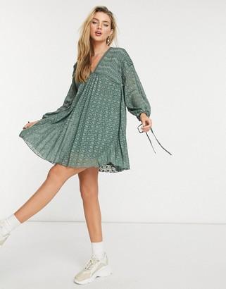 ASOS DESIGN v-front v-back pleated mini smock dress with pin tucks in khaki