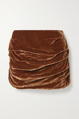 Georgia Alice Ruched Velvet Mini Skirt - Brown