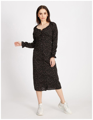 Missguided Milkmaid Midi Long Sleeve Dress