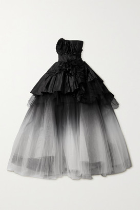 Marchesa Strapless Appliqued Silk-taffeta And Degrade Tulle Gown - Black