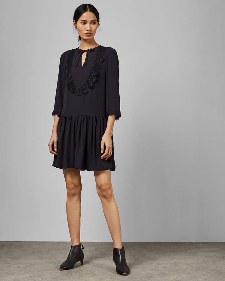 Ted Baker KOURT Drop waist lace bib dress