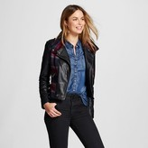 Collection B Women's Quilted Faux Leather Jacket Black