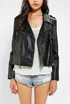 Reverse Fringe-Back Vegan Leather Moto Jacket