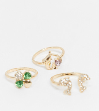 ASOS DESIGN Curve pack of 3 dolphin and clover rings in gold tone