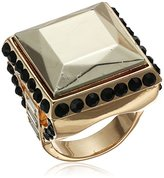 GUESS Square Stone Jet/Gold Ring, Size 8