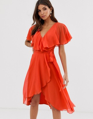 Asos Design DESIGN cape back dipped hem midi dress-Red