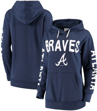 G Iii Women's G-III 4Her by Carl Banks Navy Atlanta Braves Extra Inning Colorblock Pullover Hoodie
