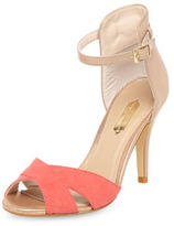 Dorothy Perkins Coral and nude heeled sandals