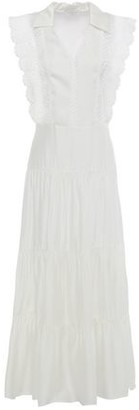 Sandro Maxime Two-tone Tiered Broderie Anglaise And Cady Midi Dress