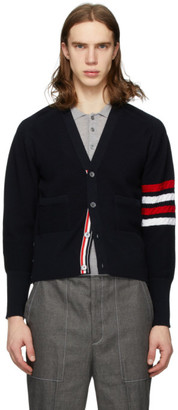 Thom Browne Navy Wool Diagonal Stitch 4-Bar V-Neck Cardigan
