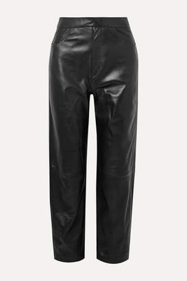 Totême Novara Leather Straight-leg Pants - Black
