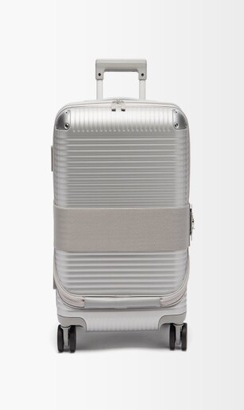 Fabbrica Pelletterie Milano Bank Zip Spinner 53 Cabin Suitcase - Silver