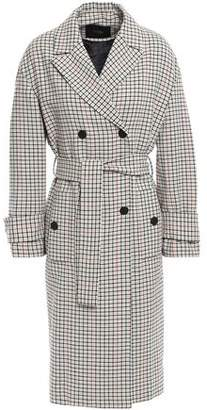 Maje Gessia Checked Woven Trench Coat