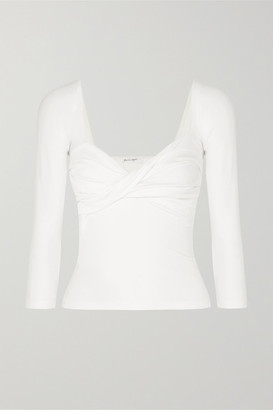 The Line By K Stevie Twisted Ribbed Cotton-blend Jersey Top - White