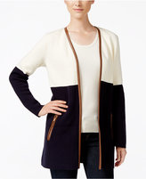 Charter Club Petite Colorblocked Open-Front Cardigan, Only at Macy's