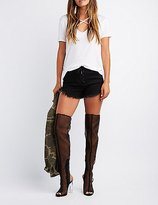 Charlotte Russe Mesh Lucite Heel Thigh-High Boots