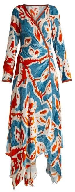 Peter Pilotto Floral Print Velvet Wrap Dress - Womens - Blue Print