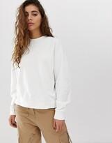 Weekday Huge organic cotton round neck sweater in white