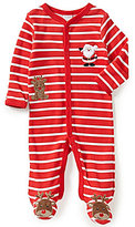 Starting Out Baby Boys Newborn-9 Months Christmas Santa and Rudolph-Appliqued Footed Coverall