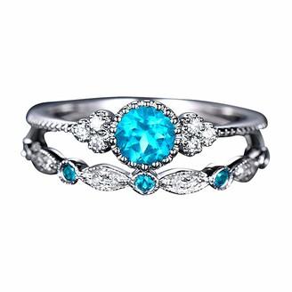 Generic JIekyoi 2PCS Women's Fashion Diamond Ring Couple Jewelry 1 Pair Rings Set Size 6 Fine Anniversary Birthday Dainty Gifts for Teens Girl Women