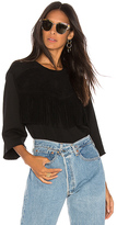 Current/Elliott The Suede Fray Sweater in Black. - size 0 / XS (also in 1 / S,2 / M,3 / L)