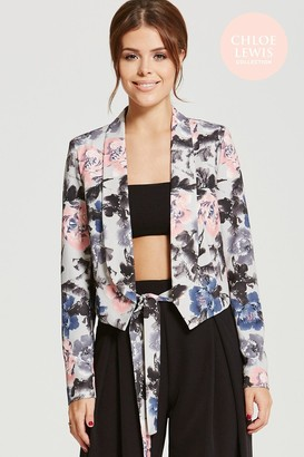 Only Chloe Lewis Collection Grey Rose Print Blazer