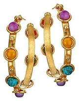 Sylvia Toledano Women's Petite Candy 22K Goldplated & Multi-Stone Creole Hoop Earrings