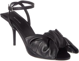 Balenciaga Bow Leather Ankle Strap Sandal