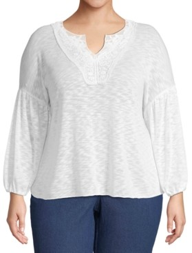 John Paul Richard Plus Size Crochet-Trim Top
