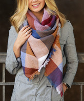 Funky Monkey Women's Cold Weather Scarves Brown/Blue/Cream - Warm Retreat Plaid Blanket Scarf - Women