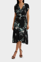 Frill Neck Birdi Black Print Midi Dress
