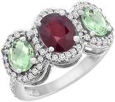 PIERA 10K White Gold Natural HQ Ruby & Green Amethyst 3-Stone Ring Oval Diamond Accent, size 8.5