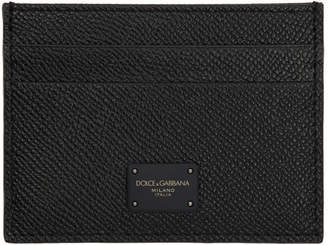 Dolce & Gabbana Black Grained Logo Card Holder