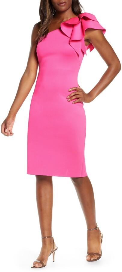Eliza J One-Shoulder Scuba Sheath Dress
